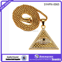 2017 New Design Antique Unique Jewelry Gold Chain With Diamonds And Evil Eyes Plated Triangle Pendant Necklace