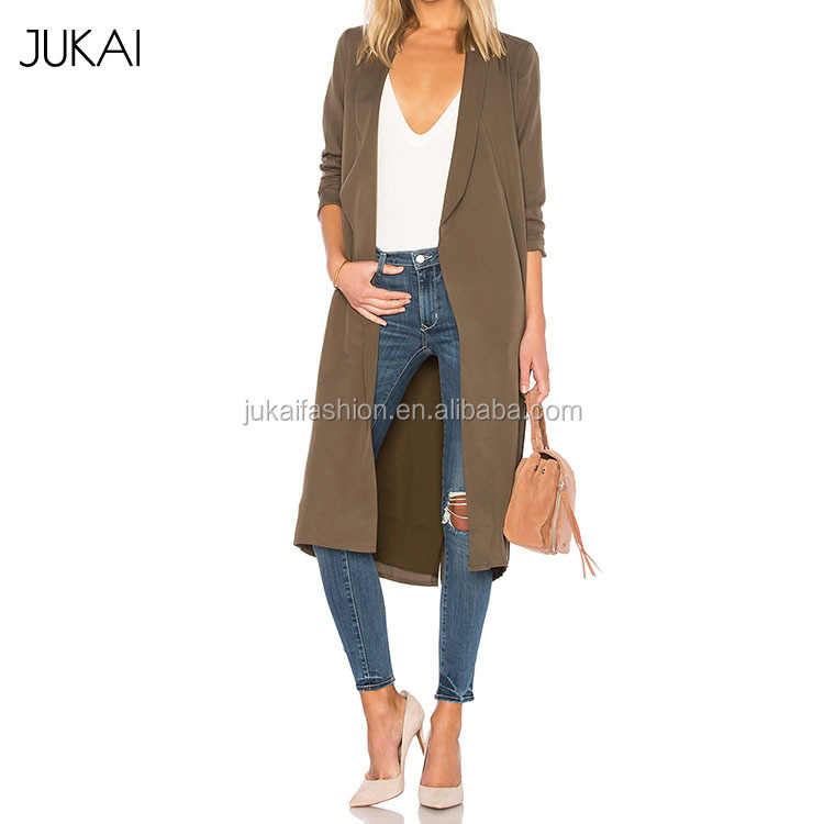 Brown Slim Fit Overcoat 2017 New Design Women Trench Coat