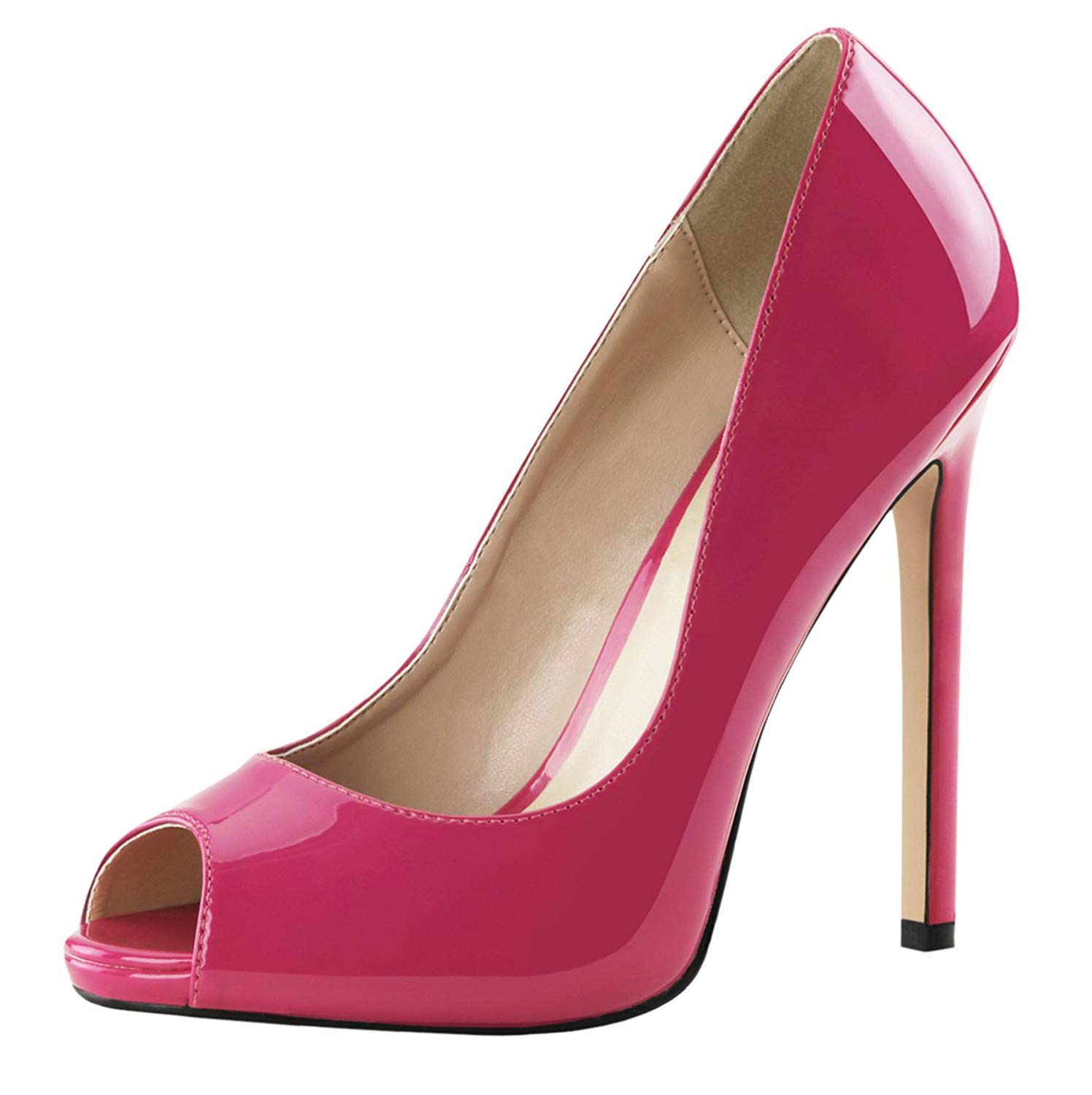 bd418e6b9208 Get Quotations · Summitfashions Womens Peep Toe Pumps Patent Hot Pink Shoes  Platforms Stilettos 5 inch Heels