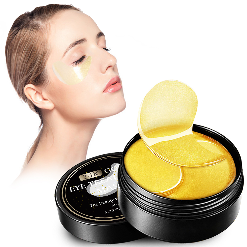 24k Gold Collagen Treatment Eye Mask for Eye Bag Dark Circles Fine Lines Anti Aging Crystal Eye Patch for Firm Smooth Skin