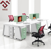 White Metal Frame Linear Multi User Computer Workstation