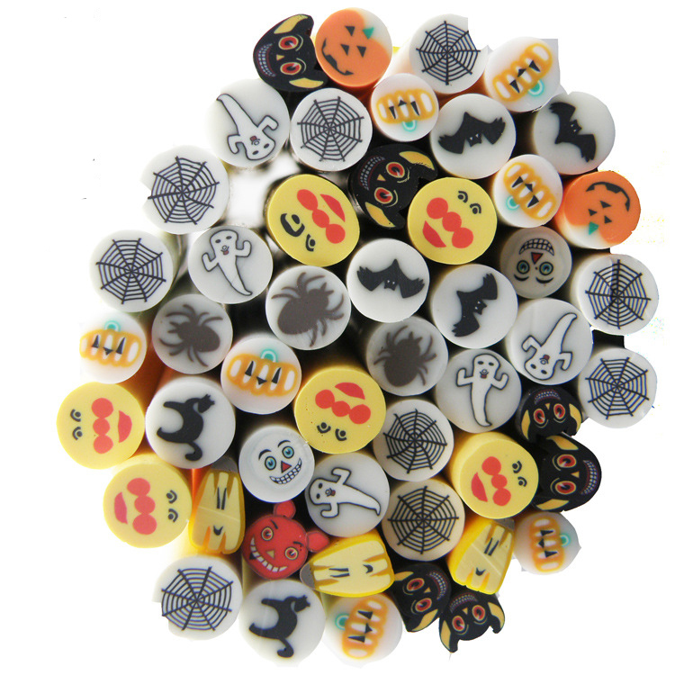 DMO Yiwu Bobao custom nice 3D Halloween type series polymer clay art nail stickers for nail and smart phone DIY handmaking