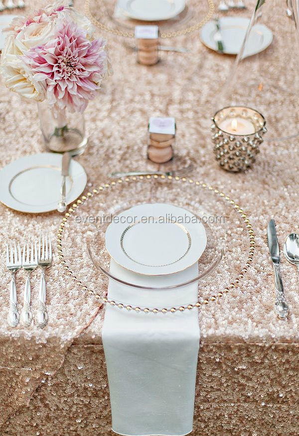 Gold Beaded Glass Charger Plate Wholesale For Wedding