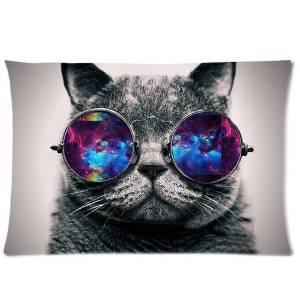 Custom Galaxy Hipster Cat Theme Pillowcase Standard Size 20
