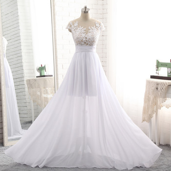 1c5e90f12ab See Through Sexy Chiffon Lace Short Sleeve Beach Summer Wedding Dresses  2018 Bridal Gowns