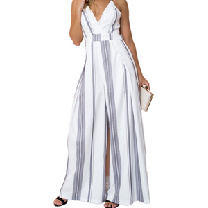 e0a89905f78 2018 Wholesale Sexy Jumpsuit Custom V-Neck Ladies Women Striped Rompers