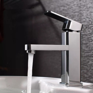 Contemporary Sanitary Ware Bathroom Taps Square Wash Basin Faucet