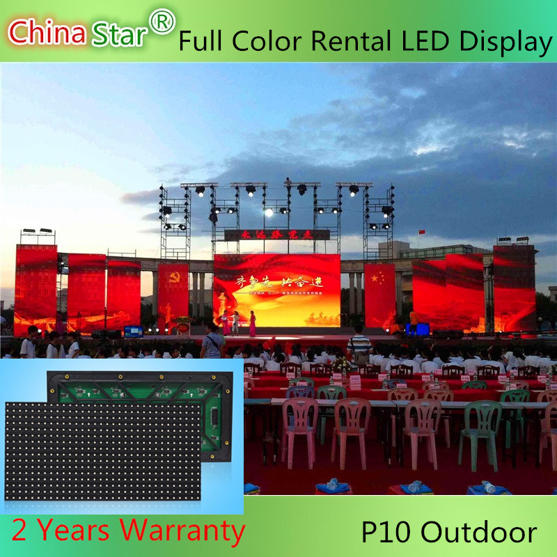 High brightness 1/2 Scan video screen full color P10 LED customized outdoor rental display