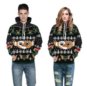 Little monster digital print hooded sweater Christmas series couple big size sports jacket