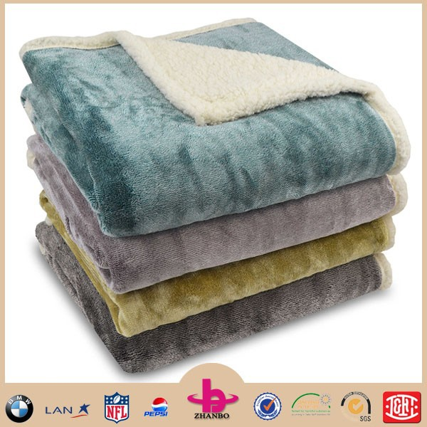 2015 popular hot 100% polyester 2-ply composite super soft thick mink flannel sherpa fleece blanket reversible throw in china