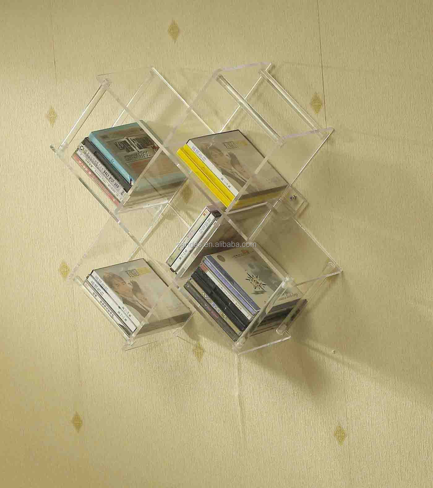 Original Wall Attached Acrylic CD Rack with 5 Inserts