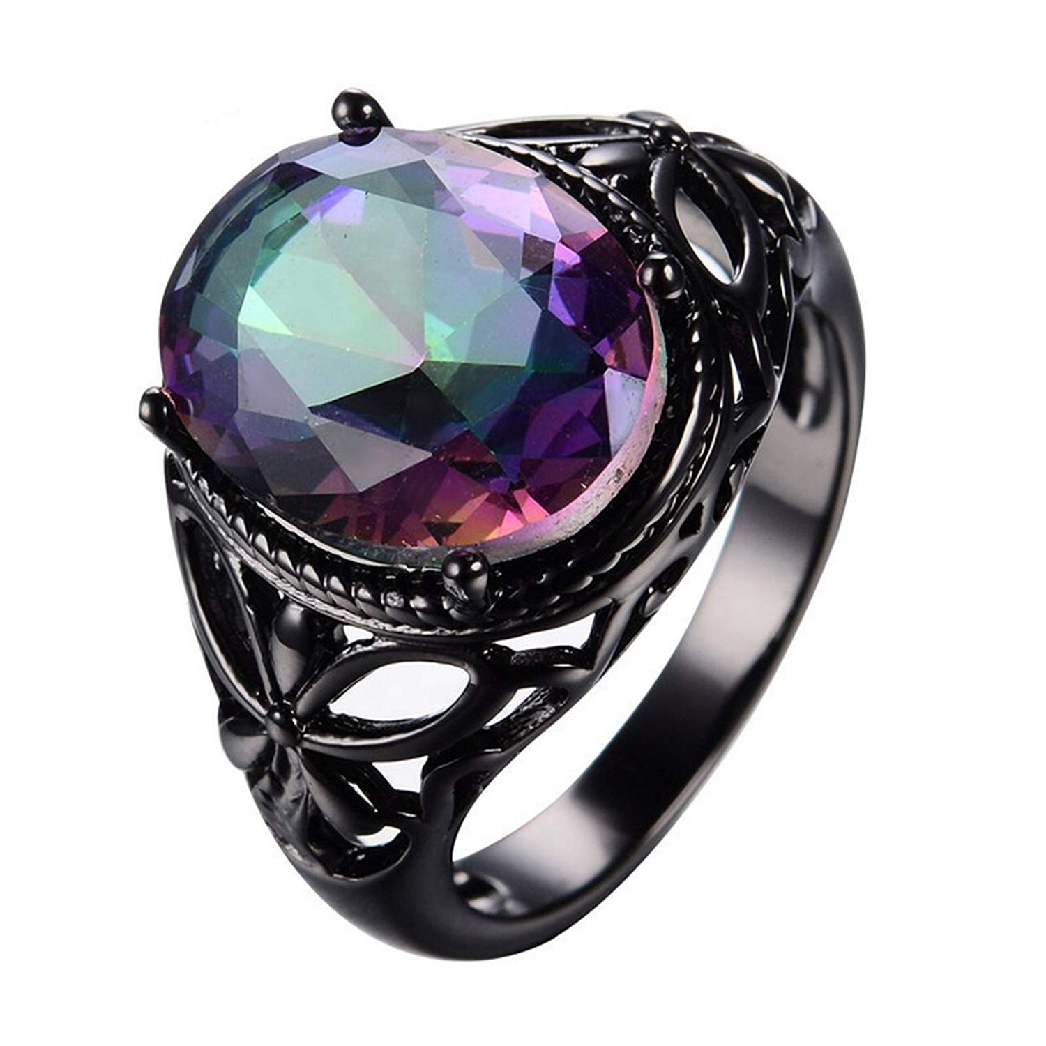 1cd551779 Get Quotations · ARICA Chunky Oval Colorful Sapphire Vintage Hollow 10KT  Black Gold Filled Big Crystal Ring 6.0
