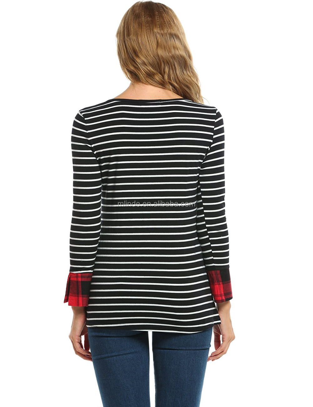 963769c3fed Indian Style Tunic Tops Women Casual Round Neck Roll Up 3/4 Sleeve Striped  Shirt
