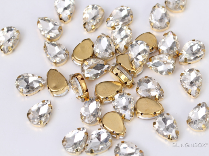 Good quality factory price long navette crystal glass sew on rhinestone with claw for shoes