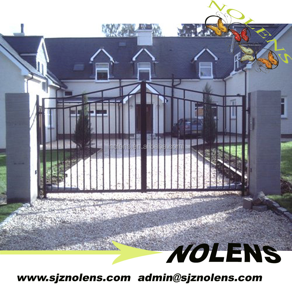 Residental new house steel pipe gate design,main gate designs/NEW STYLE DUAL SWING GATE IRON DRIVEWAY GATES