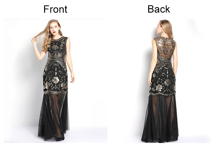 Dinner party wear sequin beaded elegant women sleeveless maxi evening long dress