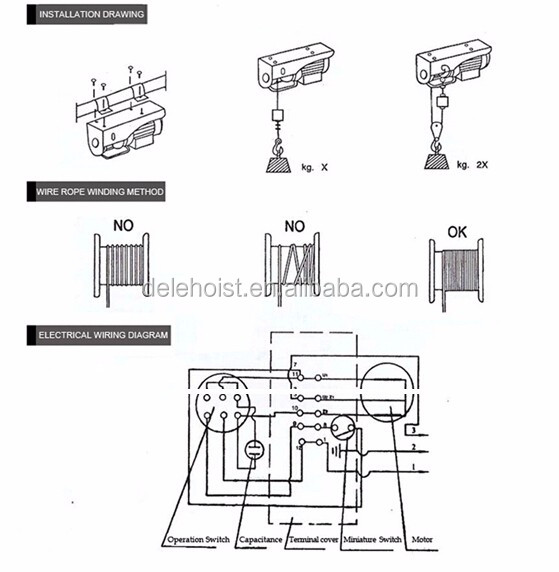 480w mini wire rope hoist crane of electrical engine