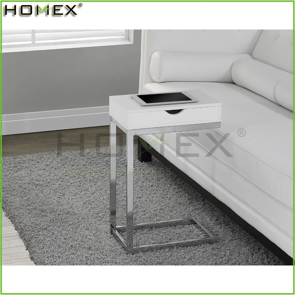 White Hollow-Core Chrome Metal Accent Table/Wooden Console Table/Homex_FSC/BSCI Factory