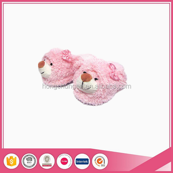 Lovely Pink Stuffed Teddy Bear Head Adult Funny Animal Slippers