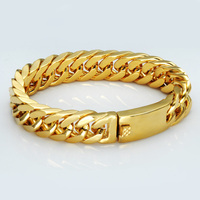 Men Stainless Steel 14k Yellow Gold Plated Cuban Curb Link Chain Bracelet