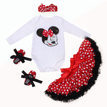 2016 New Arrival Fashion Baby Girl Clothes Sets Minnie Dot Cotton Long Sleeve Romper Tutu Skirts