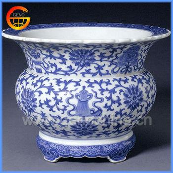 Antique Chinese Resin Plant Pot For Garden Decor
