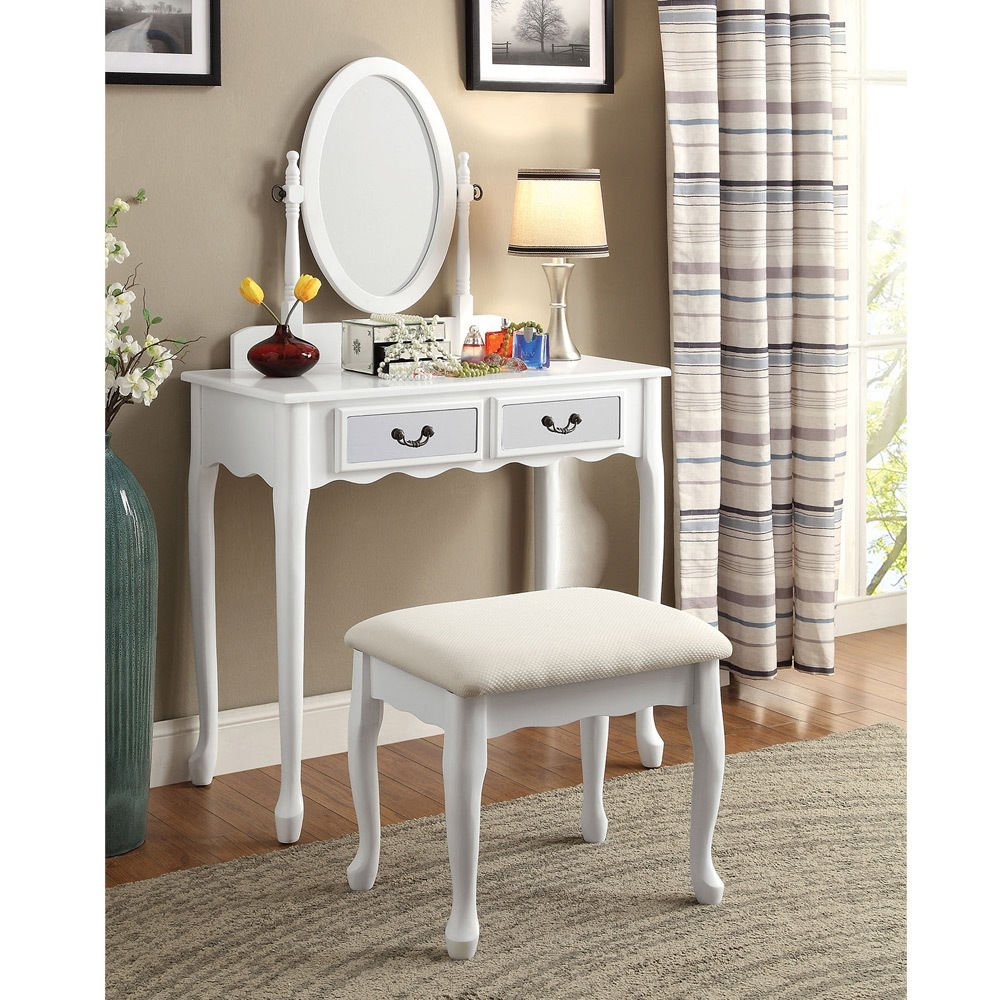 1PerfectChoice Adriana Bedroom Vanity Makeup Table Oval Mirror Drawers Padded Bench Wood, White