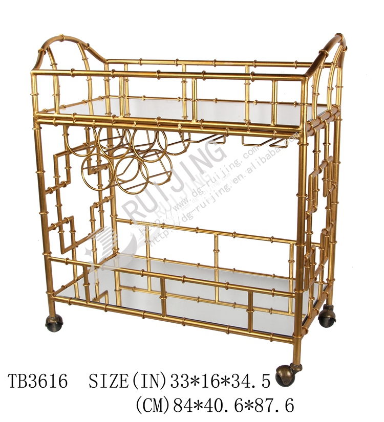 Gl Steel Gold Bar Cart With Wine Rack
