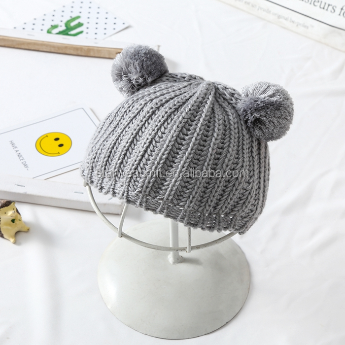 High Quality Cute Animal Chunky Beany Beanie Cheap Soft Winter Knitted Kids Hats