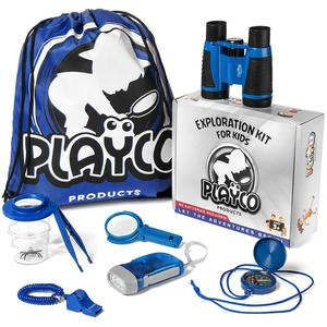Kids Explorer Kit -Includes Binoculars, Compass, Magnifying Glass, Flashlight ,and Bug Catching Kit for Boys and Girls