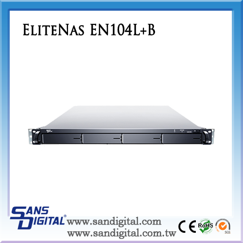 Sans Digital EliteNAS EN104L+B 64bit - 1U 4 Bay Intel Celeron Dual Core NAS + iSCSI Rackmount Server NAS Storage
