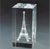 3d laser engraving crystal eiffel tower cube paperweight MH-FT04