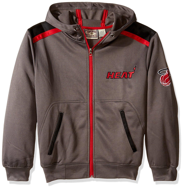NBA Miami heat Unisex Poly fleece Zip hoody, CHARCOAL/black, Medium