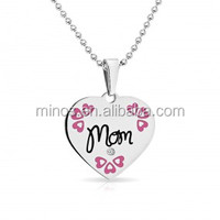 inspirational Jewelry Stainless Steel Pink Mom Heart Tag Pendant CZ Necklace