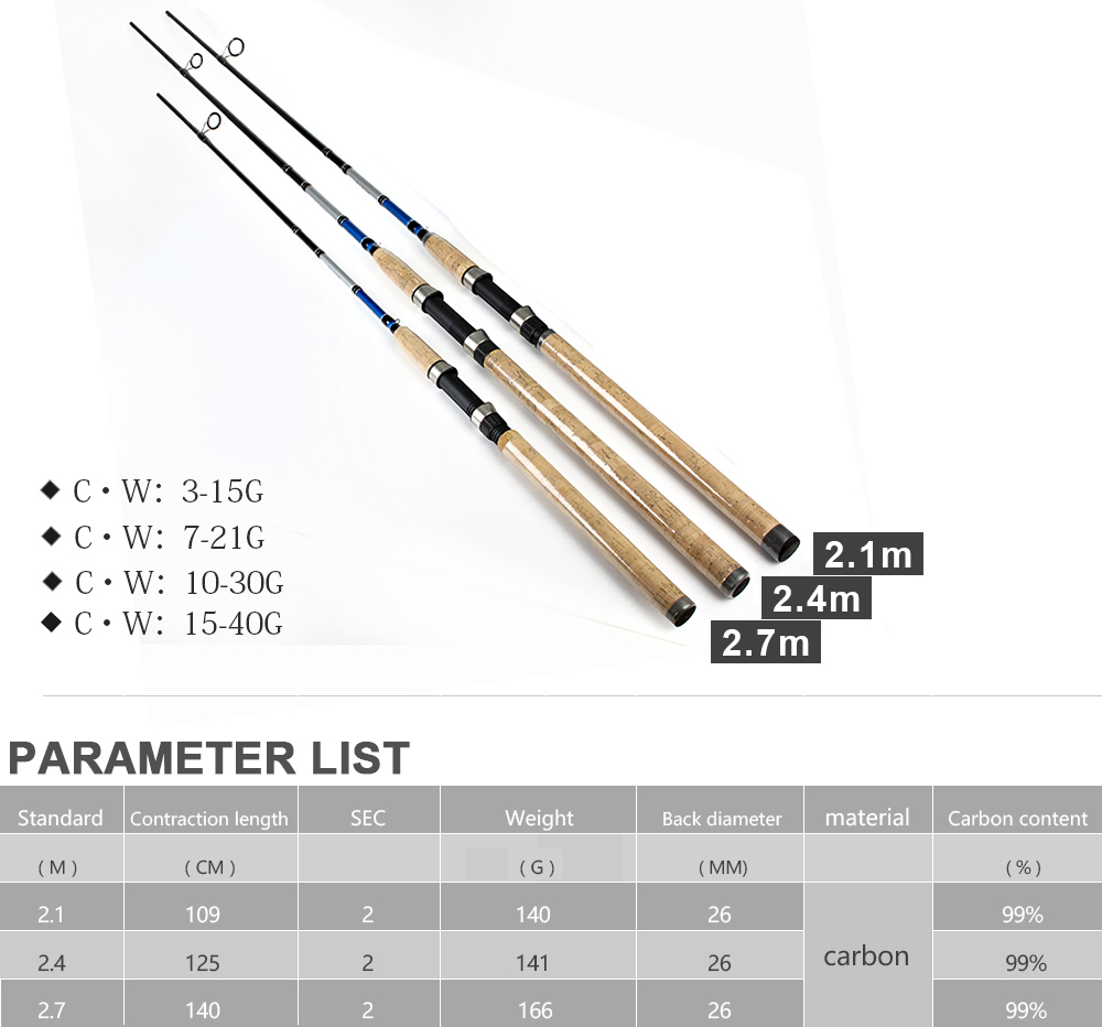 Carbon Sea Fishing Rod 2.4m 2.7m Ultra Light Saltwater Spinning Fishing Pole Rod