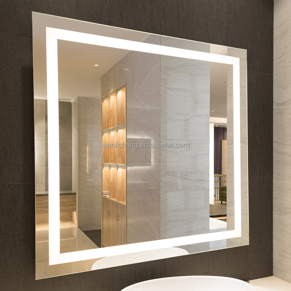 Horizontal Illuminated Frosted Strips Wall Mounted Led Back Lit Mirror Lighted Designer