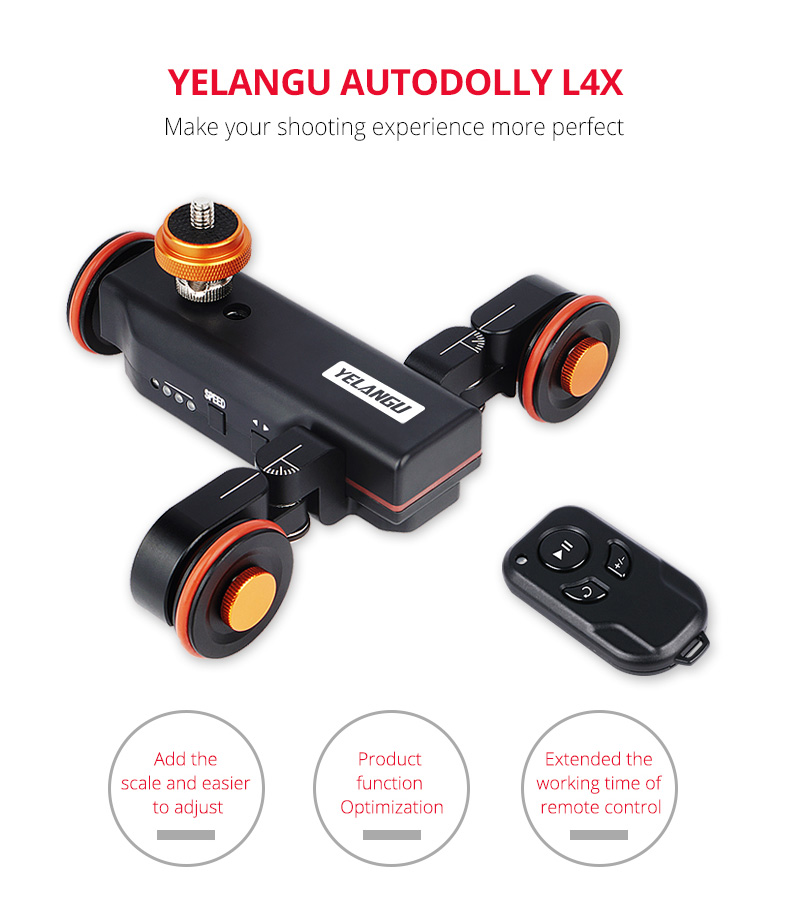 YELANGU 3-Wheels Motorized Autodolly Video Car Slider with Remote,Rechargeable,Three Speed Adjust for GoPro, Iphone, DSLR Camera