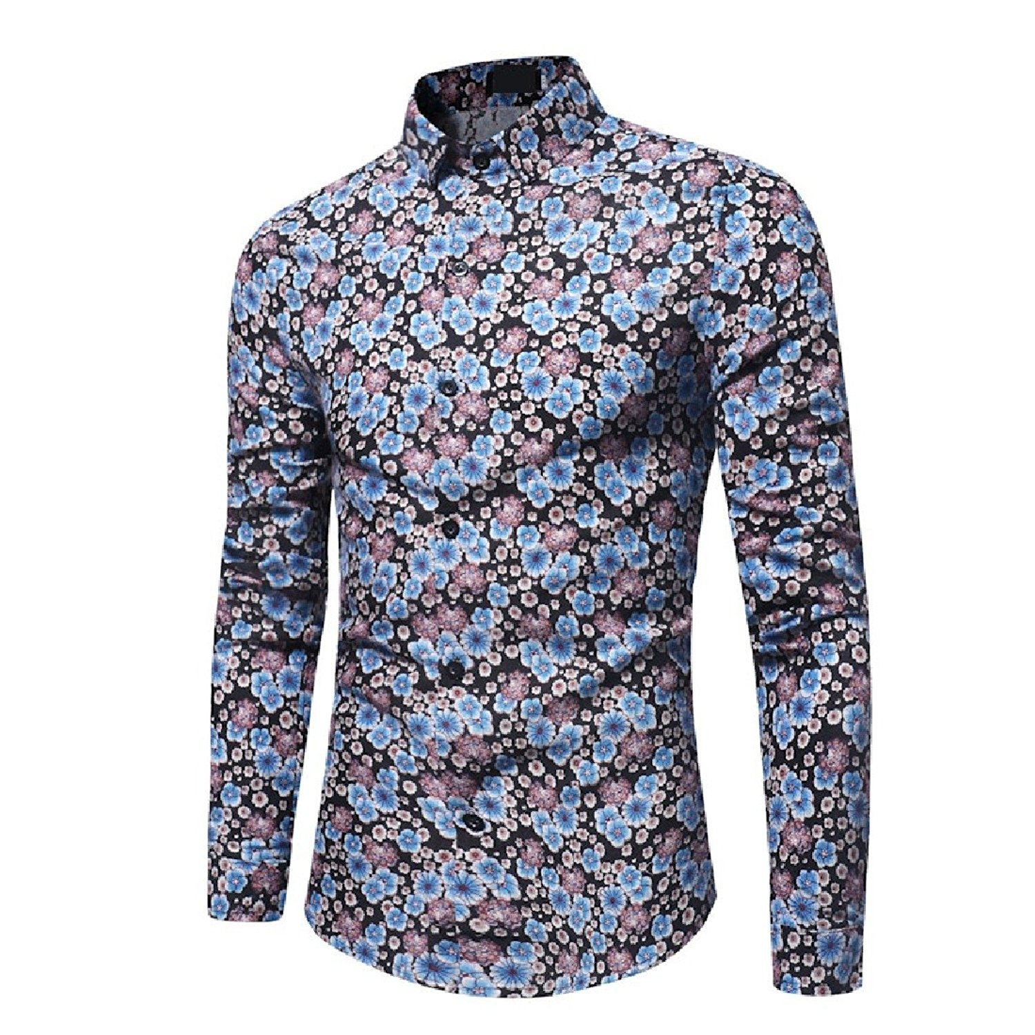 d9471e131e0 Get Quotations · Zimaes-Men Casual Peaked Collar Buttoned Bussiness Floral  Dress Shirts