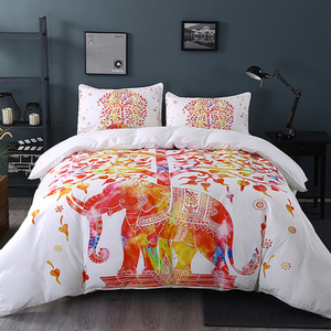 White And Red Bedding Set Boho Duvet Cover With Pillowcase Indian Elephant Print Exotic Bedclothes In Queen Sizes