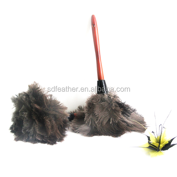 Natural Ostrich Feather Duster Com Punho de Madeira <br/> Anti-estático <br/> Lavável <br/> China Atacado