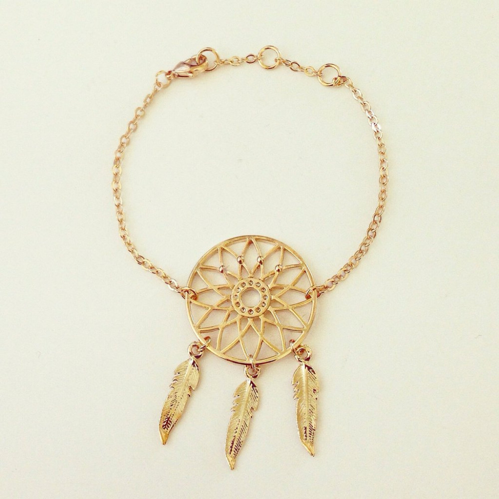 Hot Ing Fashion Indian Feather Tiny Bracelet Lovely Gold Plated Dream Catcher