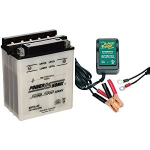 Power-Sonic CB14L-A2 Conventional Powersport Battery and Battery Tender 021-0123 Battery Tender Junior 12V Battery Charger Bundle