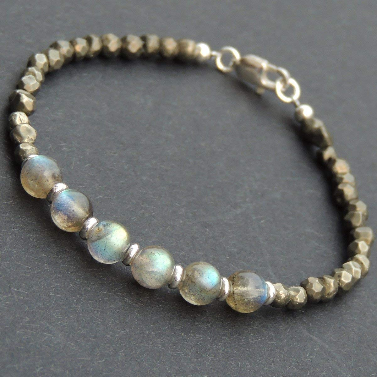 Men and Women Bracelet Handmade with Natural 4mm Faceted Gold Pyrite, Labradorite Beads and Genuine 925 Sterling Silver Spacers, Clasp & Beads