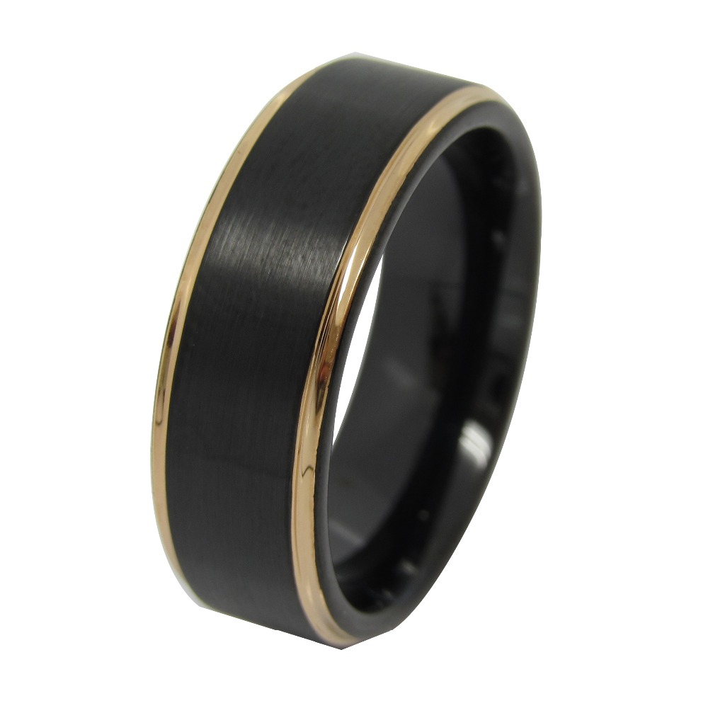 Mens jewelry 2016 new design Tungsten Carbide black wedding ring band with gold plating line