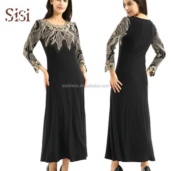 Muslim ladies embroidered  hot drilling and beading maxi dresses and Dubai abaya Islamic wome dress