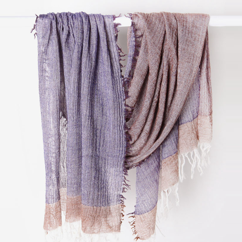 Pleated Fringe Scarf Crimped Wrinkle Scarf