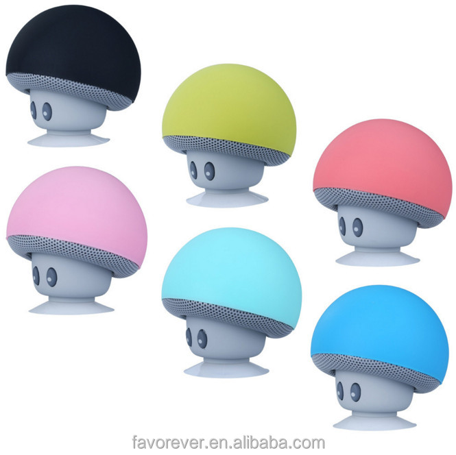 Hot sale cheap Mini portable hands free lovely mushroom speaker with suction cup for phone stand