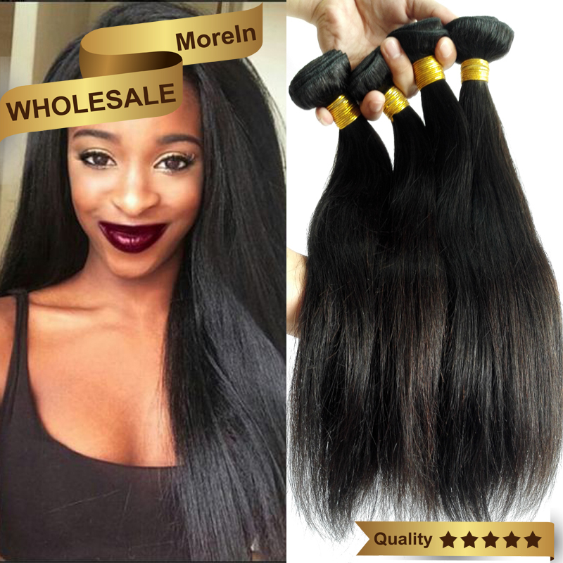 "Grade 8A wholesale 100% natural remy weave human virgin indian hair Silky Straight wave 8""-30"""