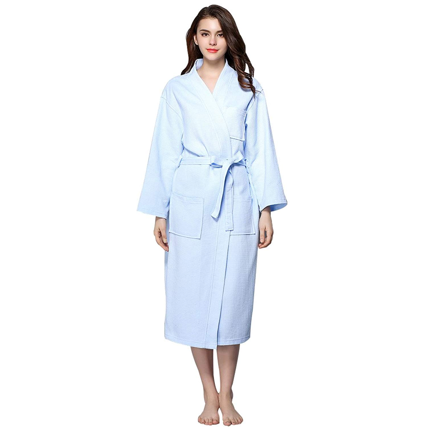 4519be61ac Get Quotations · BabYoung Women s Waffle Bathrobes Casual Cotton Long  Sleeves Plus Size Robes