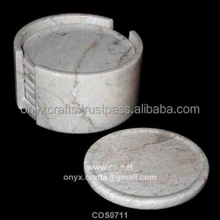 Boticina Marble Coaster of 6 pc with holder